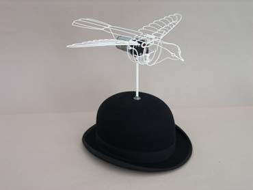 Bowler Bird, maquette with bowler hat.
