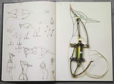 Sketchbook, Studies for mechanical Elvis Bird.